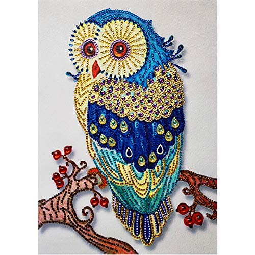 DIY 5D Special Shape Diamond Painting by Number Kit Crystal Rhinestone Round Drill Picture Art Craft Home Wall Decor 12x16In Golden Blue Owl