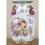 Home decor. Pink and Gold Round Fruit Vase. Dimension: 8 x 8 x 12. Pattern: Fruit.