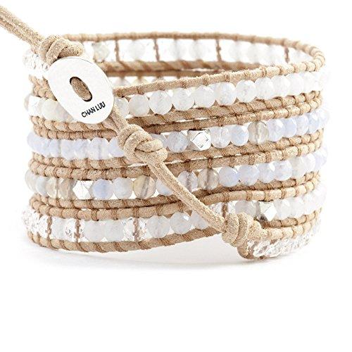 Chan Luu Light Blue Wrap Bracelet on Beige Leather