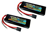 2-Pack of Lectron Pro 7.4 volt - 5200mAh 50C Lipo Battery Pack for the Traxxas Slash and Slash 4X4 models - E-Maxx Brushless Edition - E-Revo Brushless Edition - and Spartan with Traxxas-type Connector