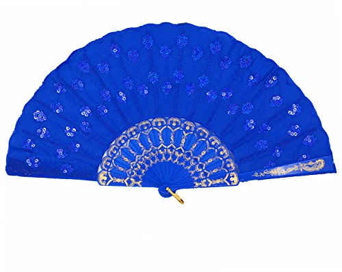 Amajiji Womans Folding Fans ,Handmade Embroidered Flower Peacock Pattern Sequin Fabric Folding Fans (Blue)