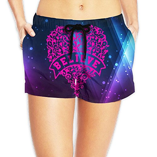 Quick Dry Casual Shorts Pink Ribbon Heart Breast Cancer Awareness Women's Swim Trunks Board Shorts M by COOA