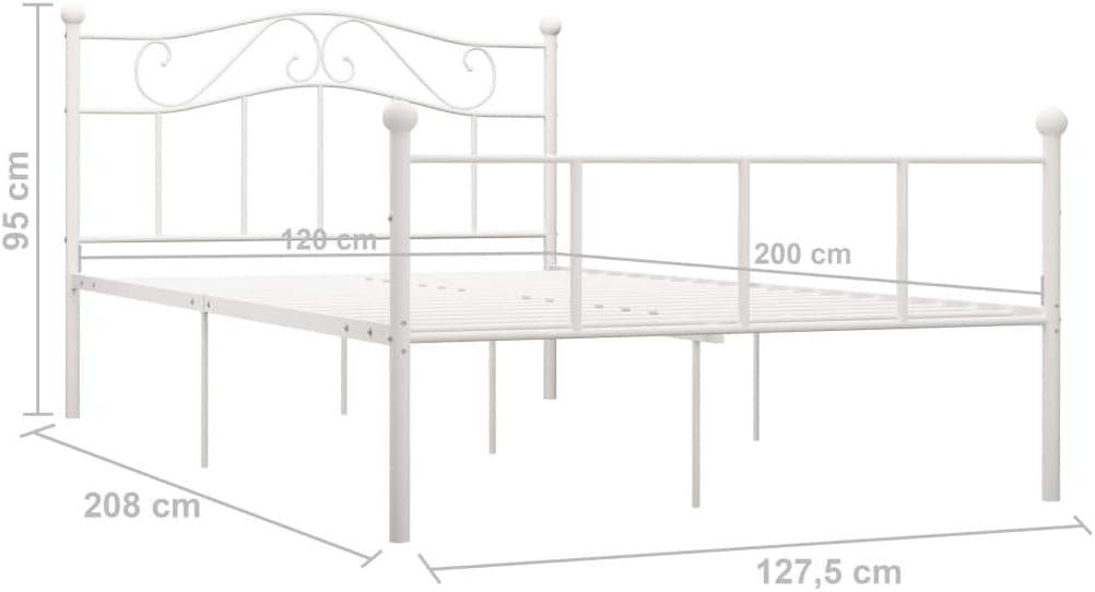 vidaXL Cadre de Lit Sommier /à Lattes Lit Double Adulte Cadre /à Lattes sur Pied Chambre /à Coucher Maison Int/érieur Blanc M/étal 120x200 cm