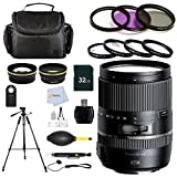 Tamron 16-300mm F/3.5-6.3 Di II VC PZD Macro IS Interchangeable Lens for Canon EF-S Cameras – International Version (No Warranty) + 7 Pc. Filter Kit + 2.2X Telephoto Lens + 50'' Tripod & More!