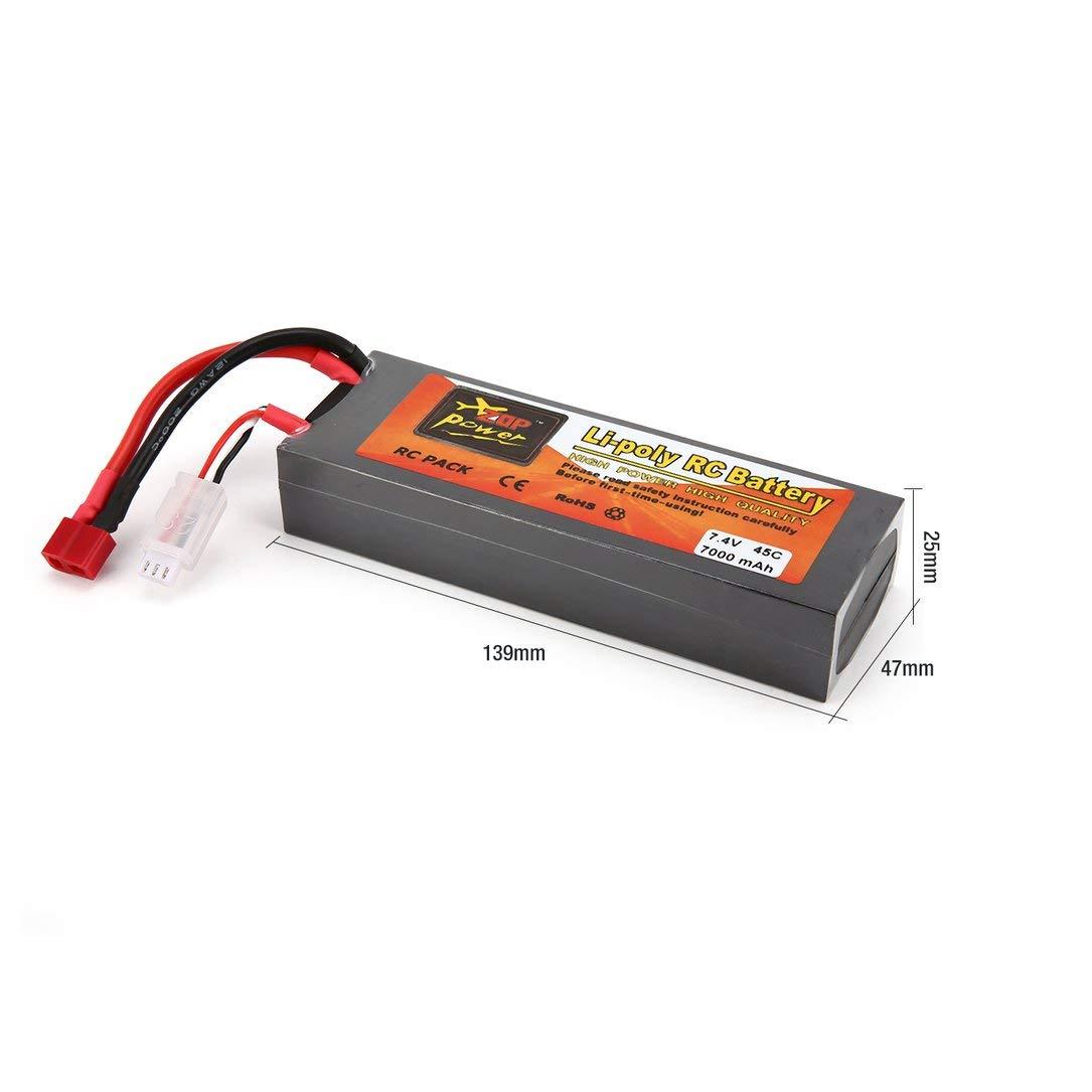 batería lipo, ZOP Power 7.4V 7000mAh 45C 2S 1P Lipo Batería ...