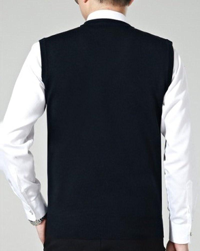 Herren V-Ausschnitt Pullunder Männer Slim Fit Ärmellos Strickweste  Einfarbig Business Stricken Weste größeres Bild 46949f37e9