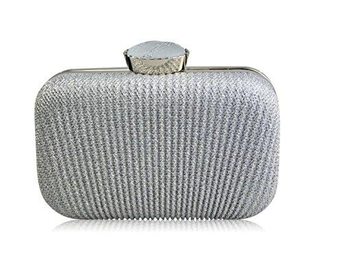GSHGA Bolsos De Embrague De Las Mujeres Bolsos De Tarde Color Sólido Arruga,Silver Silver