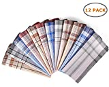 Men's Cotton Handkerchiefs, Ohuhu 12 Pack 100% Pure Cotton 4 Color Pocket Square