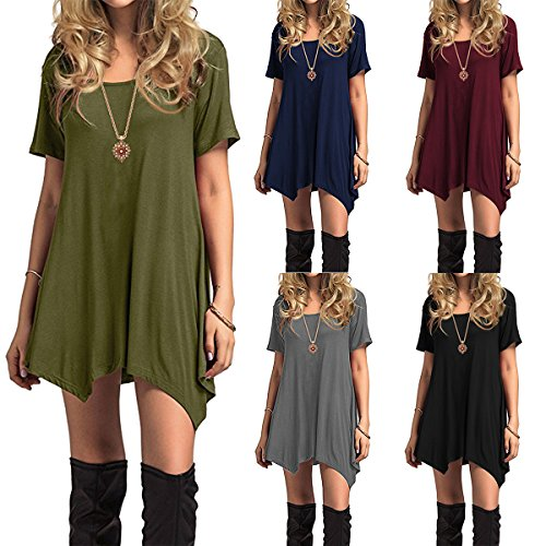 Sleeve Short Star Century Dress Fall amp; Simple Thin Length T Winter Women's Soft Dress Flowy Loose Green army Knee Long Casual Plain Shirt Sleeve SYqfqRwdnx
