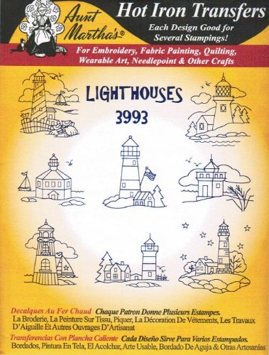 Lighthouses Aunt Martha's Hot Iron Embroidery Transfer ()