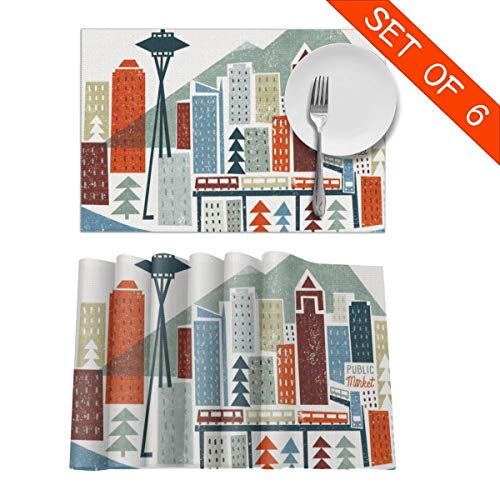 Baerg Table Mats,Placemat Set of 6 Non-Slip Washable Place Mats - Colourful Seattle Heat Insulation Stain Resistant Kitchen Dining Table Mats 12x18 in]()