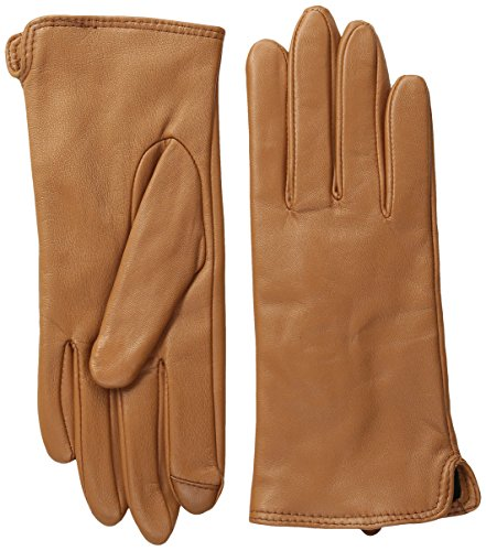 Touchpoint Women's Side Vent Leather Glove with Technology, British Tan, Large