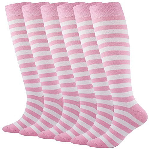 Knee High Soccer Football Socks, SUTTOS Women's Wonder Fun Pink White Striped Fashion Patterned Knee High Over The Calf Long Tube Cotton Flat Knit Warm Athletic Casual Boot Socks,6 ()