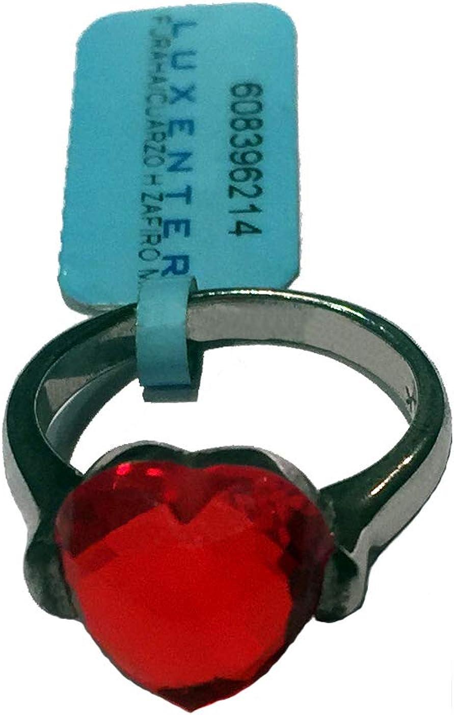 Anillo de Plata de Ley 608396214 con piedra roja en forma de corazón, calibre 14