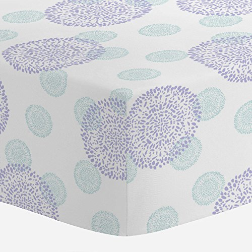 Carousel Designs Lilac and Mist Dandelion Crib Sheet - Organ