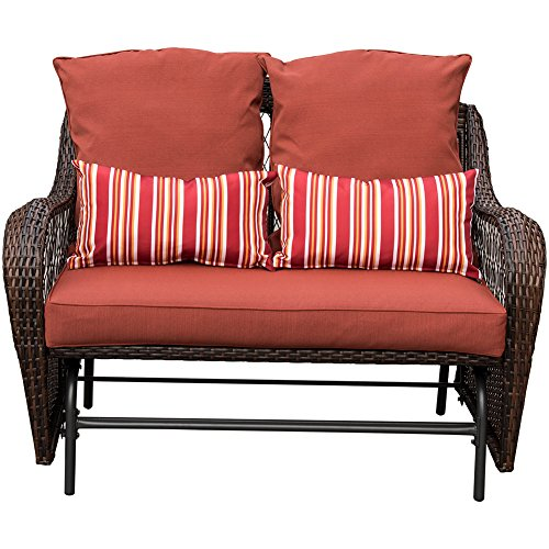 Sundale Outdoor 2 Person Wicker Loveseat Glider Bench