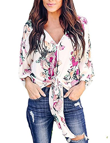 V-neck Kimono Top - Lalala Women Summer Tops Elbow-Length Sleeve Lightweight Flower Chiffon Shirts XL, Pink
