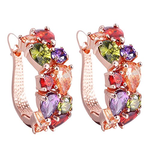 - Happy Hours - Stylish Rose Gold Plated Crystal Stones Drop Earrings/Multi Colored Studs Gift for Women and Teen Girls(Colorful)