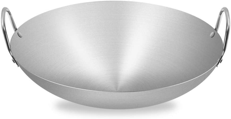 LNDDP Non-Stick Frying Pan, Round Bottom Work Fry Pan Non Sticks Binaural Stainless Steel Work Thicken Gas Stoves,Old-Fashioned Iron Pot Home Work Suitable for Restaurants Banquets