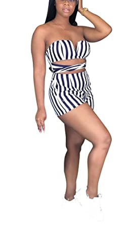 1a6dab2c41 Aleng Women s Sexy Off Shoulder Stripe Romper Tie Waist Short Pants One  Piece Jumpsuits Black Small