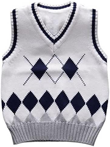 Happy Cherry Kids Knit Sweater Vest V-Neck Argyle Thicken Students Pullover