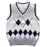 Happy Cherry Unisex Kids Fabtics Waistcoat Argyle V-Neck Sweater Vest White 6T