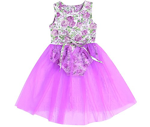 Price comparison product image Newborn Baby Girls Sleeveless Floral Romper Dress Jumpsuit Lace Tutu Mesh Princess Summer Playsuit (Purple, 6-12Month)