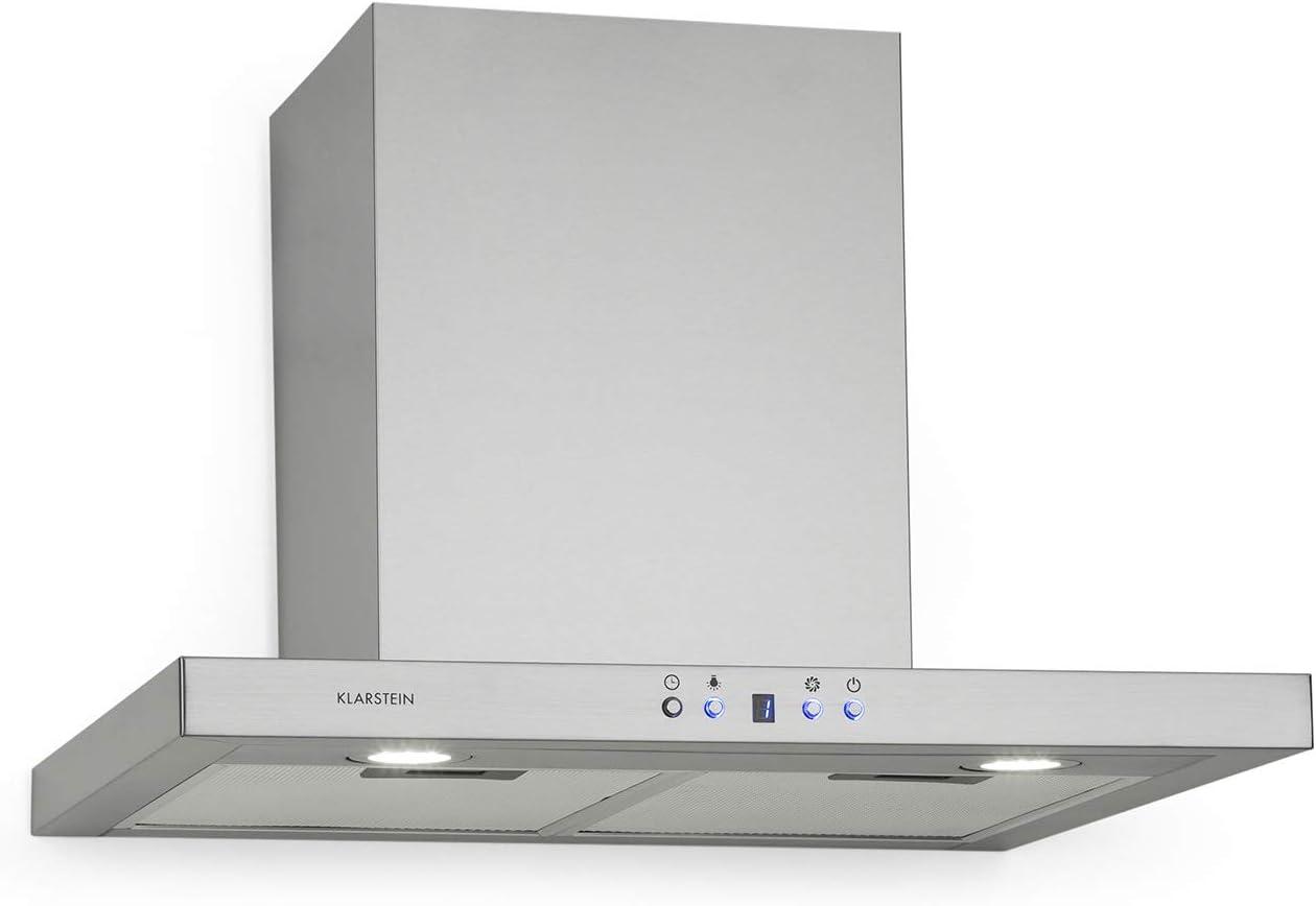 Klarstein Limelight – Extractor de humos, 60 cm, extractor de pared, eficiencia energética de clase A++, extracción, 600 m³/h, 3 niveles de velocidad, iluminación LED, plateado