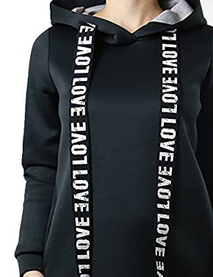Love Printed Drawstring Warm and Soft Tunic Style Pullover Hoodie for Women