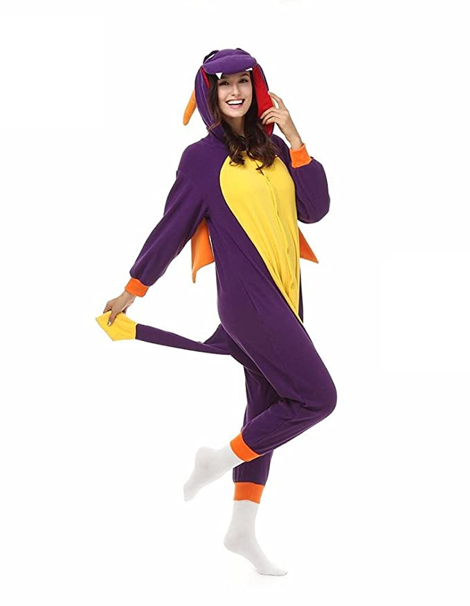 Amazon.com : HYY@ Kigurumi Pajamas Dinosaur Leotard/Onesie Halloween Animal Sleepwear Purple Patchwork Coral fleece Kigurumi Unisex Halloween : Sports & ...