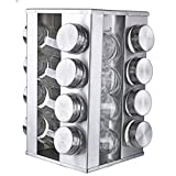 5th Avenue Collection Spice Rack Stainless Steel 18/8 Square Rotating 16 Jar