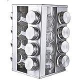 Original Cucina Italiana Stainless Steel 18/8 Spice Rack Square Seasoning Storage Organization Rotating 16 Jar