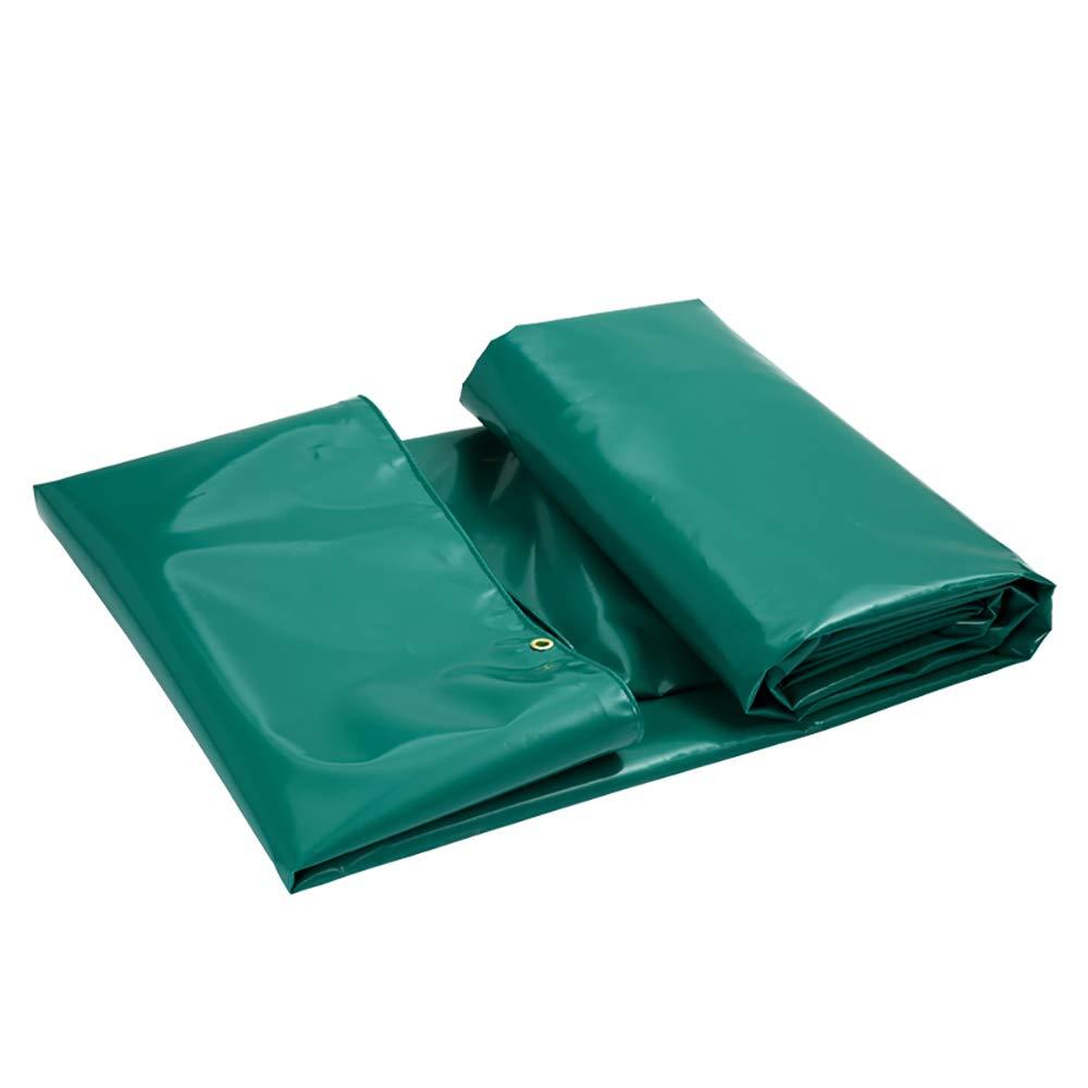 GLP Regenfestes Tuch Wasserdichte Sonnencreme Plane Verdickung Outdoor Crepe Folding Fischteich Leinwand PVC Sonnenschirm Poncho (650g ± 20g   M² Dicke 0,6mm ± 0,2mm) (Farbe   Grün, Größe   3x3m)