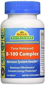 Nova Nutritions B-100 Vitamin B Complex 120 Time Released Tablets