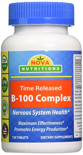 Time Released 100 Tablet (Nova Nutritions B-100 Vitamin B Complex 120 Time Released Tablets)