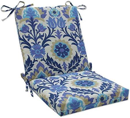 Pillow Perfect Outdoor/Indoor Santa Maria Azure Square Corner Chair Cushion