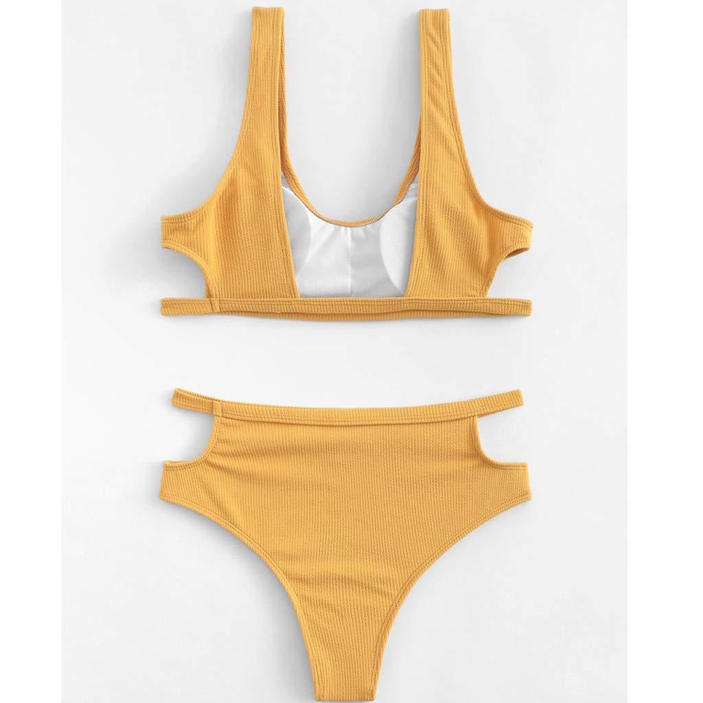 987c43024d4 Amazon.com: Luweki Womens Yellow Two Piece Swimsuits for Women High Waisted  Bikini Set Bathing Suit Swimsuit for Girls Beachwear: Clothing