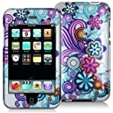 Importer520 Purple Mixed Funky Flower Design Crystal Hard Skin Case Cover for Apple Ipod Touch iTouch 2nd and 3rd Generation Gen 2g 3g 2 3 8gb 16gb 32gb 64gb