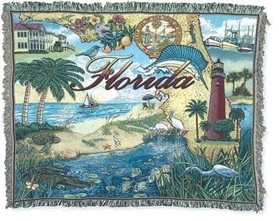 Simply Home State Florida Mid-Size Deluxe Tapestry Throw Blanket USA Made SKU RTP042416 ()