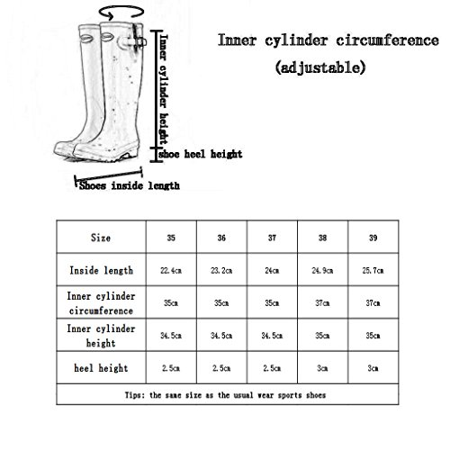 Cylinder Boots High Black Slip Yard Horse Rain Riding Rubber Floral Women's Shoes Wet resistant Waterproof For Weather wBqTU4R