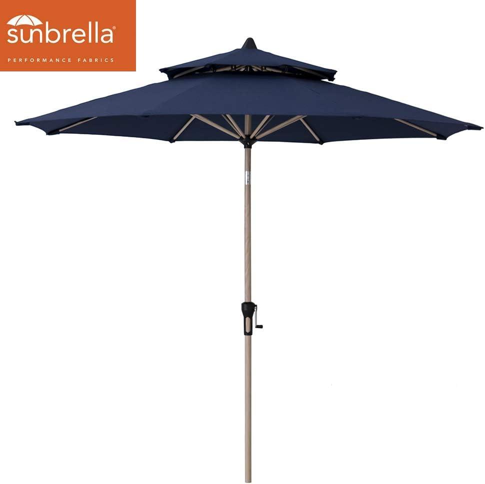 Crestlive Products Sunbrella 9FT Market Umbrella Patio Outdoor Table Umbrella Double Top Aluminum Frame in Classic Wood Pattern Finish Crank System and Push-Button Tilt Spectrum Denim