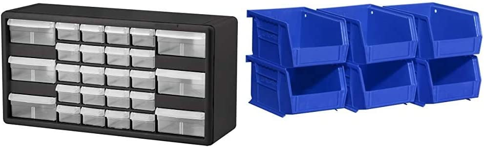 Akro-Mils 26 Drawer 10126, Plastic Parts Storage Hardware and Craft Cabinet, Black (1-Pack) & 08212BLUE 30210 AkroBins Plastic Storage Bin Hanging Stacking Containers, Blue, (6-Pack)