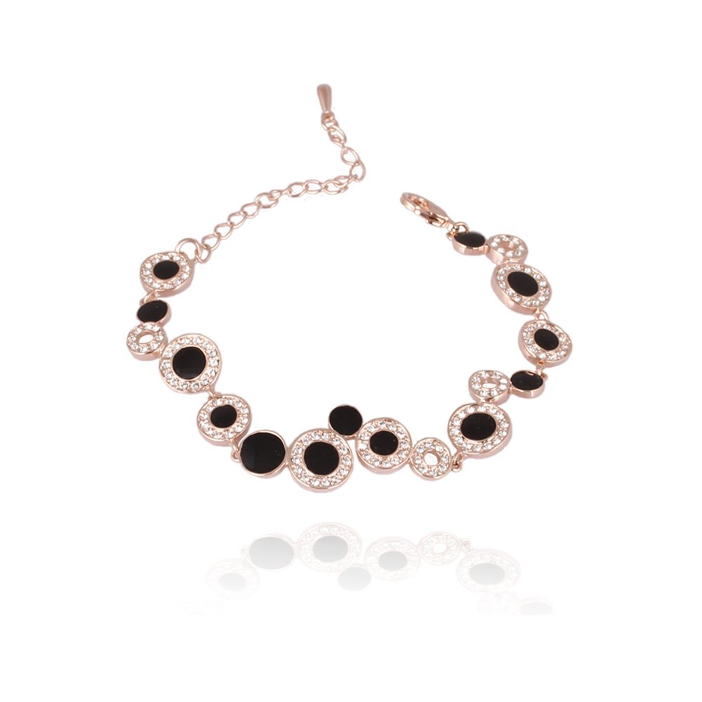 FASHION PLAZA Women's Gifts Circles Bracelet Set With Black Crystals B145