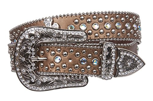Western Rhinestone Silver Circle Studs and Cross Decoration Leather Belt Size: M/L - 38 Color: Bronze