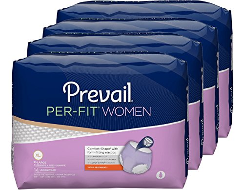 Prevail Per-Fit Extra Absorbency Incontinence Underwear for Women Extra Large 56 Count Breathable Rapid Absorption Discreet Comfort Fit Adult ()