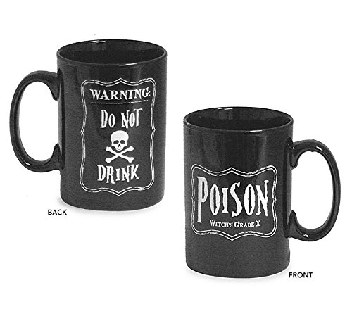 Halloween Black 16 Oz Coffee Mug with Skeleton and Poison Message (Scary Halloween Coffee Mugs)