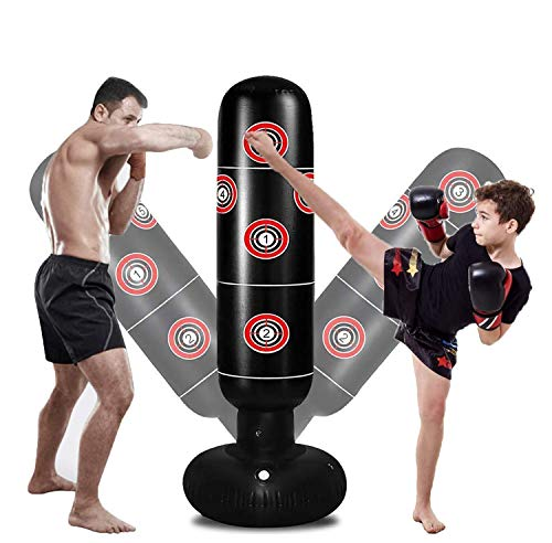 Inflatable Punching Bag with Stand, Freestanding Punching Bag Heavy Duty, Immediate Bounce Back Boxing Equipment for…