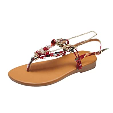 9246031ee5962 Women Summer Non-Slip Bohemian Beach Shoes Crystal Chains Flat Thong Sandals (Wine