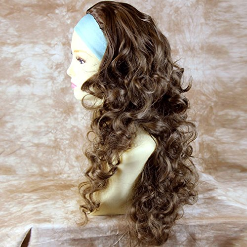 Light Chestnut Brown 3/4 Fall Hairpiece Long Curly Layered Half Wig Hair Piece by Wiwigs