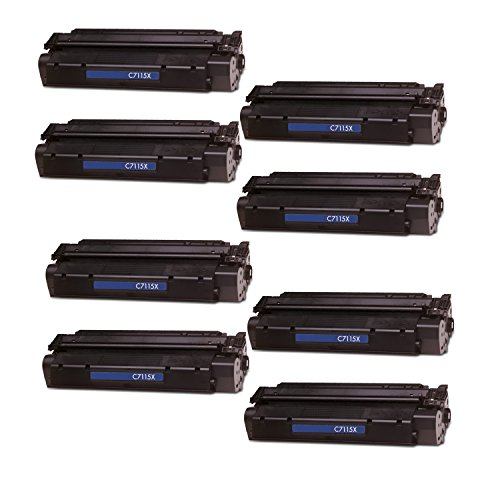 8 Pack Remanufactured Replacement Laser Toner Cartridge for Hewlett Packard C7115X (HP 15X) High-Yield ()